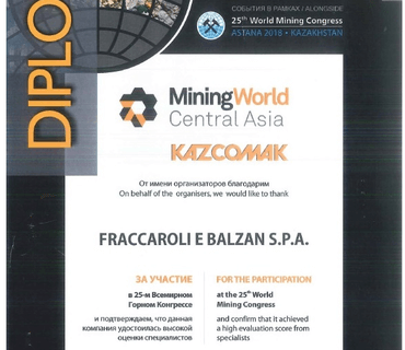 DIPLOMA AT THE MINING WORLD